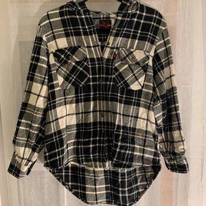 Body 10der High Low Plaid Flannel Shirt - Size Lg